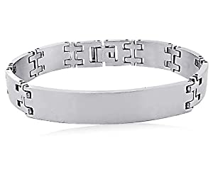 "Men's Stainless Steel High Polish Medical ID Bracelet, 8.5"" by Amazon Curated Collection"