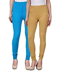 Desi Duos Women's Solid Cotton Leggings With Great Light Blue & Beige Color
