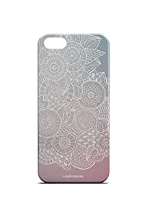 For Apple iPhone 5, iPhone 5S, iPhone SE White Mandala Illustration Handdrawn Mandala White Blue Purple - Designer Printed High Quality Smooth Matte Protective Mobile Case Back Pouch Cover by Creative Cases