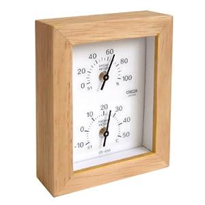 天然木 温度計・湿度計 CR-650C+W(クレセル)