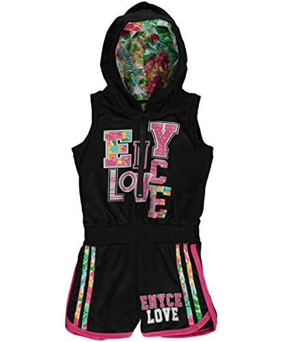 Enyce Big Girls Hooded Multi-Trim Romper - black, 10 - 12