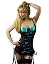 Yummy Bee Lingerie Babydoll Set Suspenders + Lace Stockings Plus Size 6 - 28 (Green, 6)