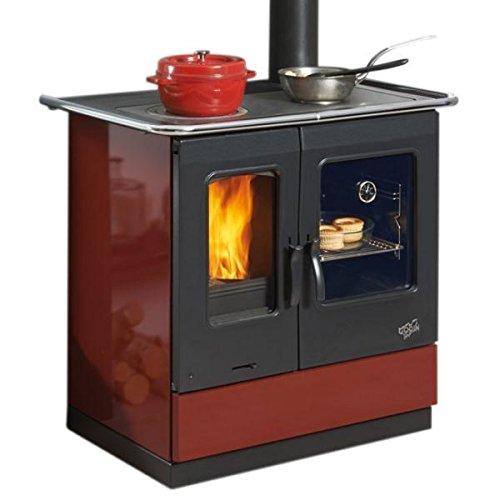 Cuisinire--bois-GODIN-241100CARMIN-Largeur-95-cm-65-KW-Rdt85-CO008-Srie-Armonnie-Vision-de-la-flamme-Carmin