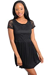 G2 Chic Women's Lace Overlay Fit & Flare Dress
