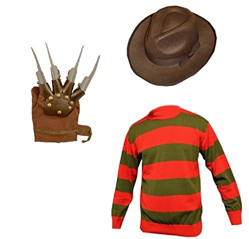 Mens Freddy Krueger Halloween Horror Fancy Dress Hat, Jumper & Glove Claw Set. S to XXL.