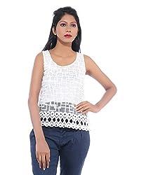 Avakasa Cotton White Embroidered Partywear Sleeveless Sleeves Top (top-36-white)