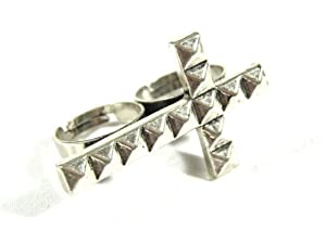 Studded Cross Double Ring Adjustable RI12 Gothic Knuckle Silver Tone Pyramid Spike Fashion Jewelry