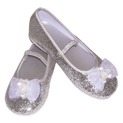 Silver Glitter Party Shoes - Kids Accessory 7 - 8 years
