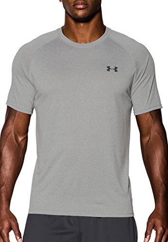 Under Armour Mens UA Tech SS Tee, True Gray Heather-Black, MD