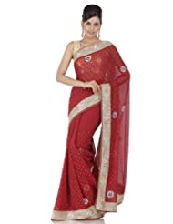 Chhabra555 Red Faux Georgette Embroidery Saree - B00J4RH9QI