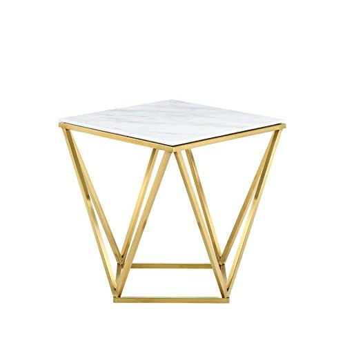 "Meridian Furniture 216-E Mason Rich Gold Stainless Steel End Table with Marble Top, 20"" L x 20"" D x 22"" H, Gold"