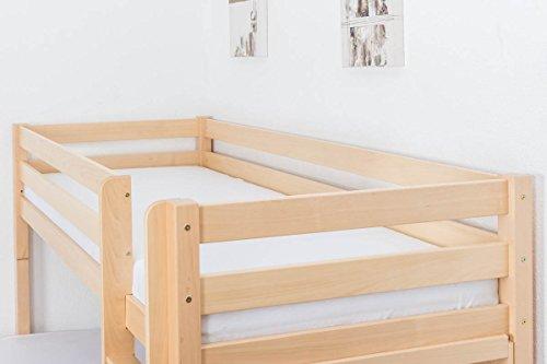 Lit superposé / Lit de jeu Phillip en hêtre massif naturel avec étagère, sommier à lattes déroulable inclus - 90 x 200 cm