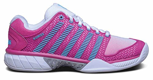 K-Swiss Women's Hypercourt Express Tennis Shoe-7.5 B(M) US-White/Very Berry/Bachelor Button