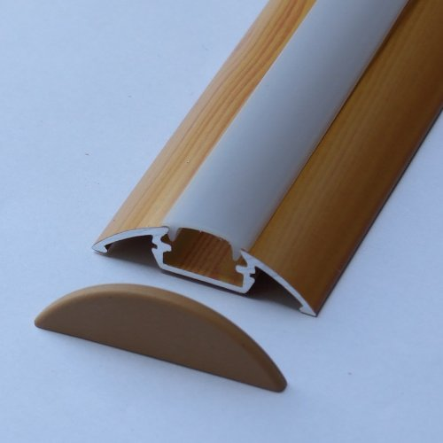 Aluminium Profile P4 For Led Strips / Tapes; Wood Pine Finish, With Milky Cover And Two End Caps; Length - 1M / 100Cm / 1000Mm