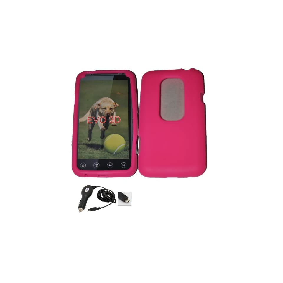 Mobile Palace   Pink silicone skin case pouch holster with car charger
