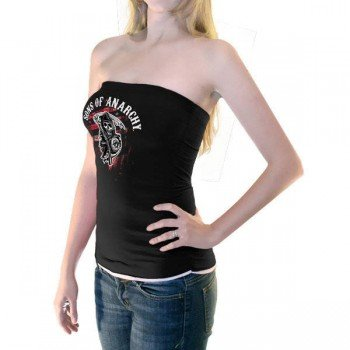Sons of Anarchy Reaper Black & White Juniors Tube Top (Juniors Large)
