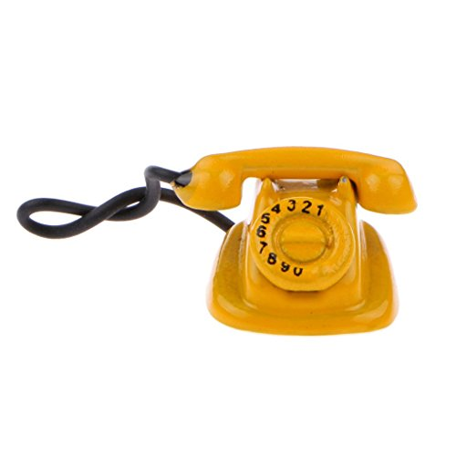 Dollhouse Minitature Retro Vintage Style Yellow Rotary Dial Phone Desk Telephone Lounge Study Room Accessory 12th Scale (1960 Old Rotary Dial Telephones compare prices)