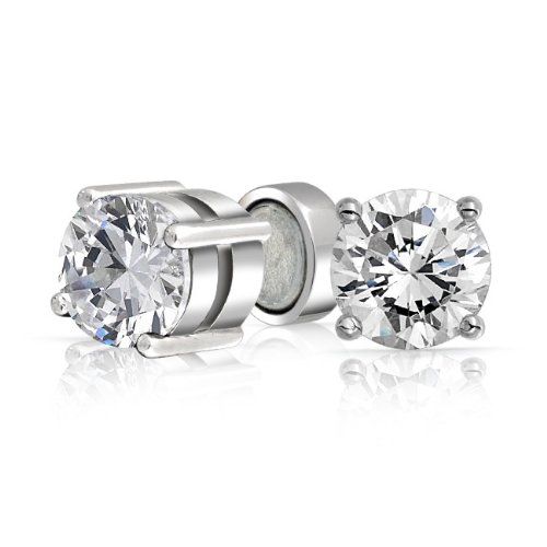 Bling Jewelry Unisex Non Pierced CZ Magnetic Stud Earrings 925 Sterling 7mm
