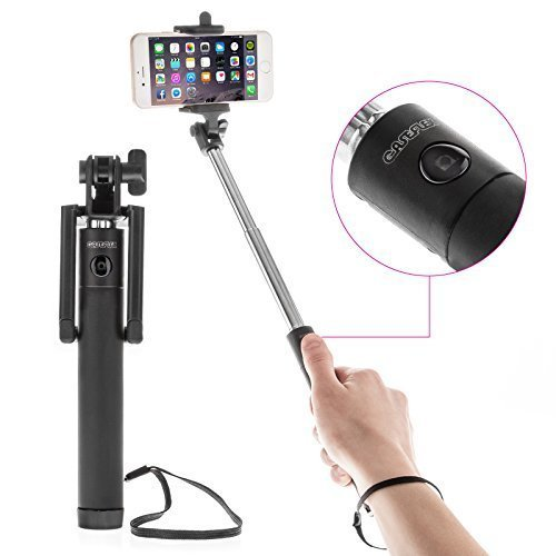 Caseflex Ultra Compact Bluetooth Selfie Stick - Extendable Action Monopod [18cm - 80cm] With Built In Wireless Shutter Button & Micro USB Charging For iPhone, Samsung, Sony, HTC & More - Black