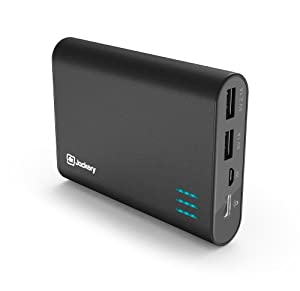 Jackery® Giant+ Premium Portable Charger Aluminum 12000mAh Power Pack and External Battery Bank with Dual USB Port for Apple iPhone 6 Plus, 6, 5S, 5C, 5, 4S, iPad, Air, Mini, Samsung Galaxy S5, S4, S3, Note, Nexus, LG, HTC. Portable Battery Charger, iPad Charger, Portable Phone Charger, USB Battery Pack, Dual USB Car Charger, Power Bank, Portable Battery (Black)