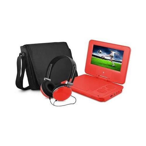 """Ematic Epd707rd 7"""" Dvd Player Bundle Red"""