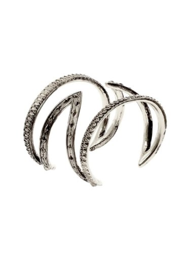 House of Harlow 1960 Jewelry Textured Cut Out Cuff, Palladium, One Size