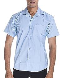 Venga Men's Button Front Shirt (RH001, Blue, M)