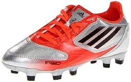 adidas F10 TRX FG Soccer Cleat,Metallic Silver/Infrared/Black,6 M US Big Kid