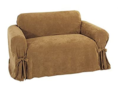 Classic Slipcovers Heavy Microsuede Loveseat Slipcover, Cappuccino