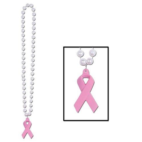 Beads w/Pink Ribbon Medallion Party Accessory (1 count) (1/Card)