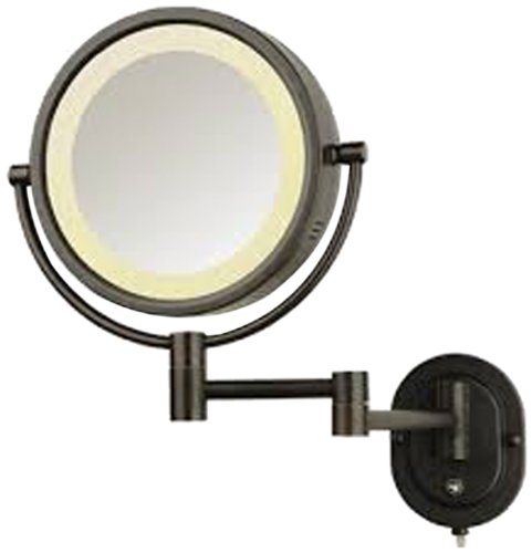 See All Hlbzsa895 Halo Lighted 8-Inch Diameter Wall Mounted Make Up Mirror 5X, Bronze front-1058388