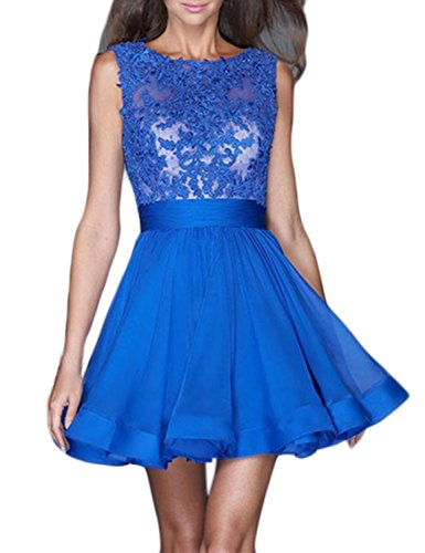 LucysProm Women's Homecoming Dresses Scoop Chiffon Short Dresses Size 2 US Dark Royal Blue