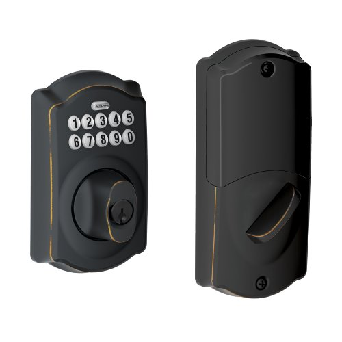 Schlage Be369Nx Camelot 716 Home Keypad Deadbolt With Z-Wave Technology, Aged Bronze