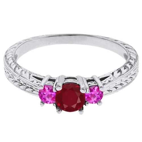 0.56 Ct Round Red Ruby Pink Sapphire 18K White Gold 3-Stone Ring