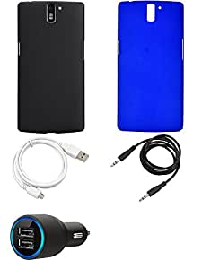 NIROSHA Cover Case Car Charger USB Cable for OnePlus One - Combo
