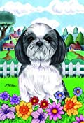 Shih Tzu - by Tomoyo Pitcher, Spring Dog Breed 28'' x 40'' Flag