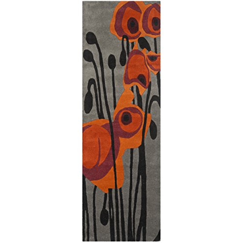 Safavieh Soho Collection SOH853B Handmade Grey and Orange Wool Runner, 2 feet 6 inches by 6 feet (2'6