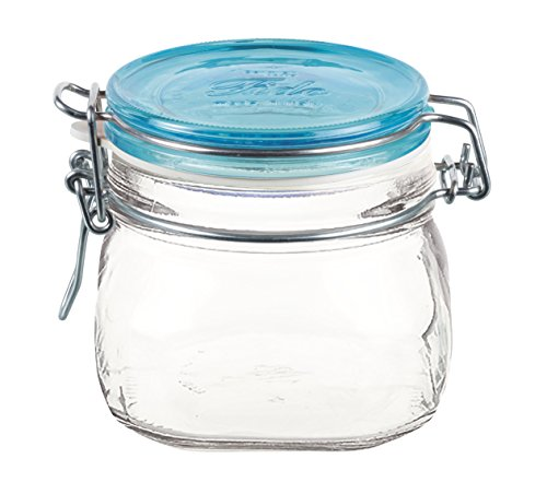 Bormioli Rocco Fido Square Jar with Blue Lid, 0.5 Liter