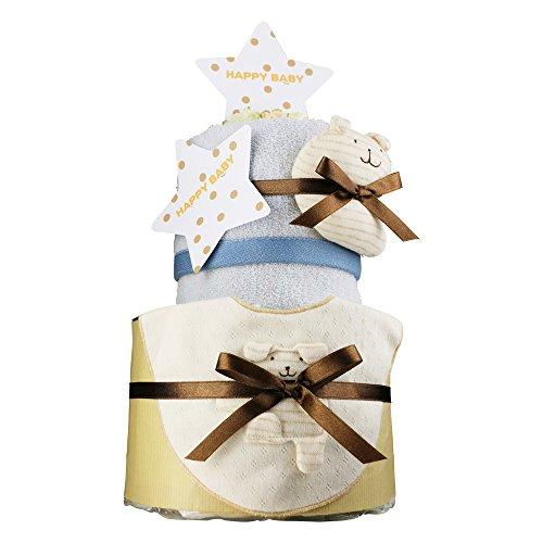 出産祝い 日本製 おむつケーキ 今治タオル 2段 紋ごのみ パンパース テープタイプ S オーガニック スタイ ガラガラ 付き imabari towel ウォッシュタオル 手作り ポプキンズベビー 出産祝いギフト 出産祝