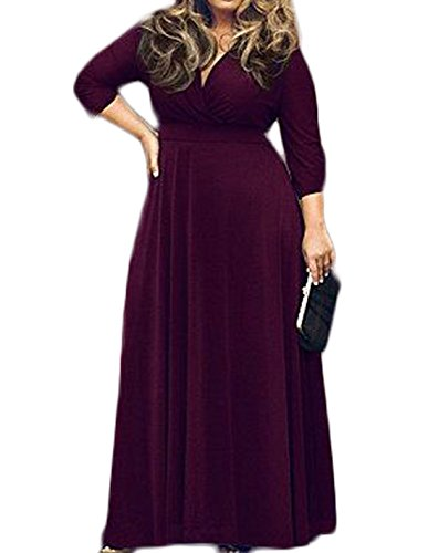 POSESHE Women's Solid V-Neck 3/4 Sleeve Plus Size Evening Party Maxi Dress XX-Large Purple