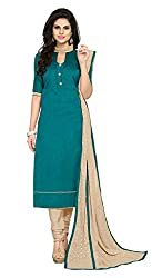 Women Icon Presents Bhagalpuri Dress Material(Rama,Beige)