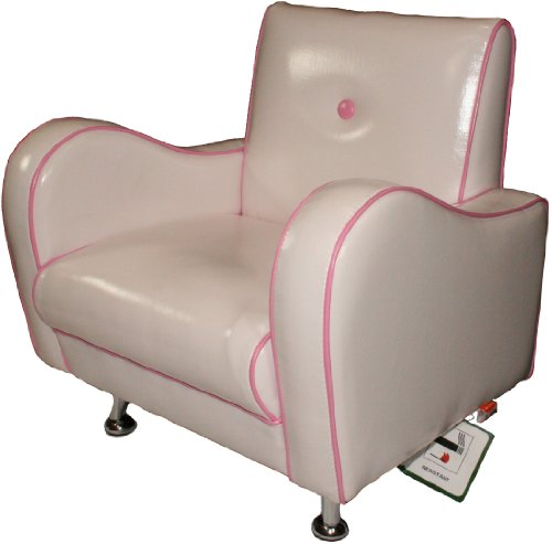 Mini Nony S PVC Chair (White/Pink Piping)