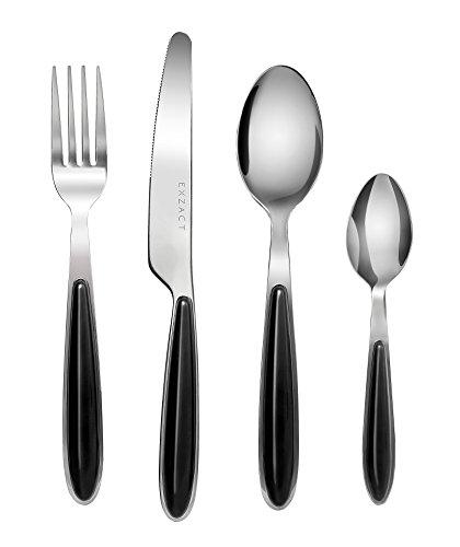 EXZACT EX07 - Couleur Couverts en inox - 16 Pièces: 4 x Fourchettes, 4 x Couteaux, 4 x Cuillères, 4 x Cuillère à café (Noir x 16)
