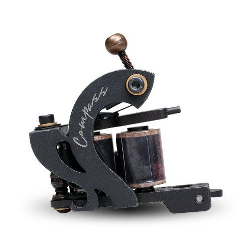 Compass Tattoo Machine Gun Plata Liner 10 Wraps Steel Frame Copper Coils WQ2067-1