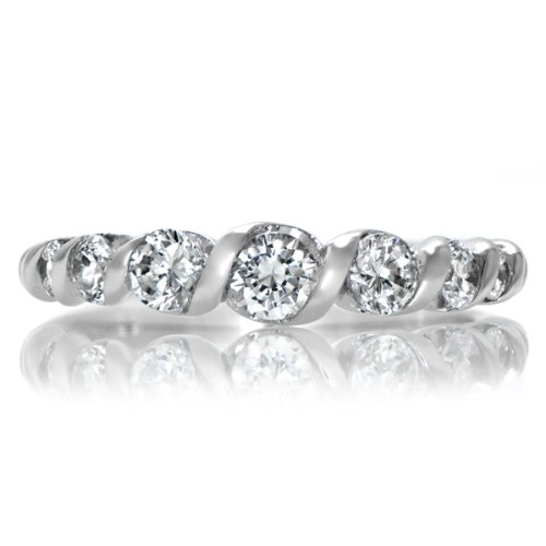 Maureen's Simulated Diamond Twisted Wedding Ring Band