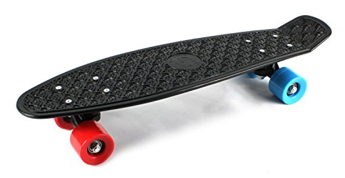 Purchase Retro Wave Cruiser Complete 22 Banana Skateboard (Black w/ Blue/Red Wheels)
