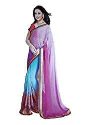 LolyDoll Women's Pure Georgette Embroidered Blue-Purple Bollywood Saree, Function/Festival_SR64