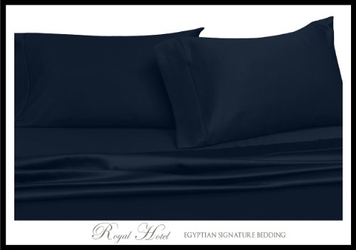 Royal'S Solid Navy 800 Thread Count 4Pc Queen Bed Sheet Set 100% Egyptian Cotton, Sateen Solid, Deep Pocket front-1010054