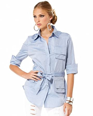 bebe Belted Cotton Tunic Shirt