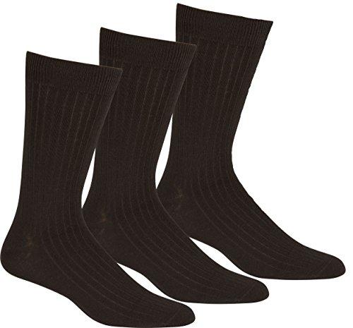 Sakkas 5599BLACK Mens Cotton Blend Ribbed Dress Socks 10-13 - Black 3-Pack
